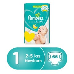 Pampers Size (1) New Born 2-5 Kg Value Pack 66 Diapers