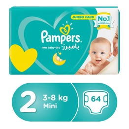 Pampers Size (2) Small 3-6 Kg/3-8 Kg Value Pack 64 Diapers