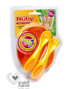 Nuby Feeding Set Sure Grip Bowl Plus Fork & Spoon (Bpa Free)5327