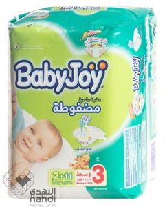 Baby Joy Size (3) Medium Carry Pack 13 Diapers