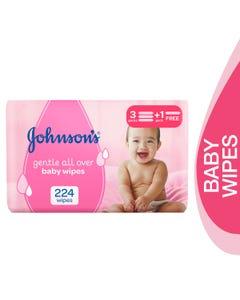 جونسون مناديل أطفال للتنظيف اللطيف 224 قطعة (عرض 3+1)