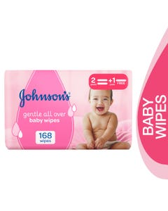 Johnson Baby Gentle Cleansing Wipes 168 pcs (Promo 2+1)