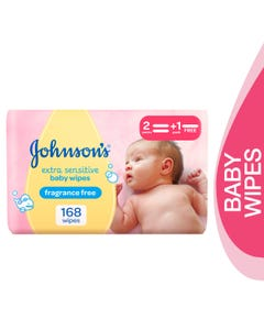 Johnson Extra Sensitive Baby Wipes Fragrance Free 168 pcs (Promo 2+1)