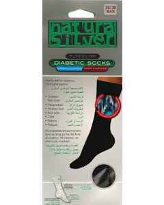 Natura Sliver Diabetic Socks Black 35-38