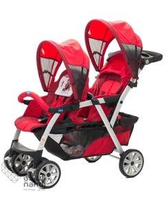 شيكو عربة أطفال لطفلين حمراء