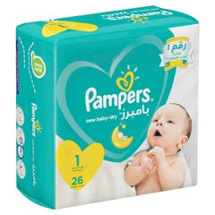 Pampers Size (1) New Born 2-5 Kg Carry Pack 26 Diapers
