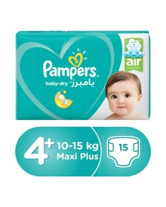 Pampers Size (4+) Large+ 9-16/10-15 Kg Carry Pack 15 Diapers