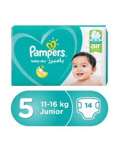 Pampers Size (5) Junior 11-18/11-16 Kg Carry Pack 14 Diapers