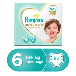 Pampers Premium Care Size (6) XXL Box 60 Diapers