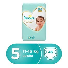 Pampers Premium Care Size (5) Junior 11-18/11-16 Kg 46 Diapers