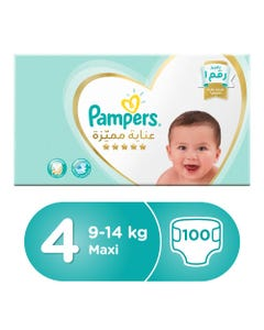 Pampers Premium Care Size (4) Large 8-14/9-14 Kg Box 100 Diapers