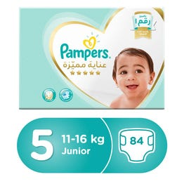 Pampers Premium Care Size (5) Junior 11-18/11-16 Kg Box 84 Diapers