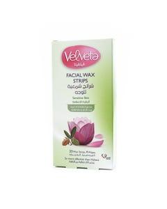 Velveta Facial Wax Strips Sensitive Skin Argan & Vanilla 20 strips