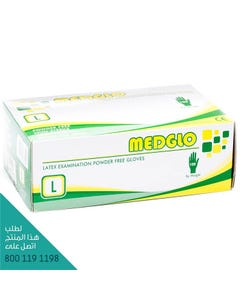 Medglo Latex Examination Powdered Free Gloves Large 100 pcs