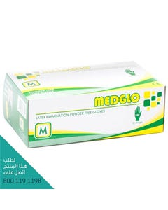 Medglo Latex Examination Powdered Free Gloves Medim 100 pcs
