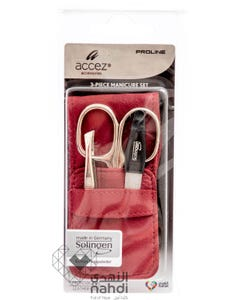 Accez Solingen Manicure Set 3 pcs Red