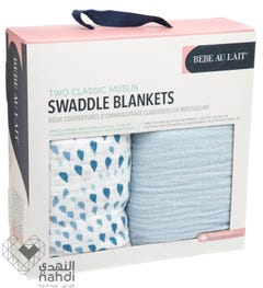 Babe Au Lait Classic Muslin Swaddle Blanket Set - Serenity & Sky