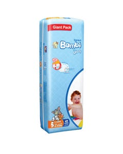 Bambi Size (5) Mid Pack 42 Diapers New