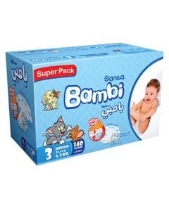 Bambi Size (3) jumbo Box 140 Diapers New