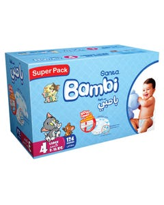 Bambi Size (4) Jumbo Box 124 Diapers New