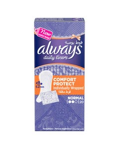 Always Pantyliner Comfort Protect Wrapped Normal 20
