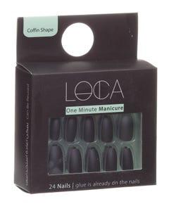Loca Press On Nails Black Matte Coffin Shape