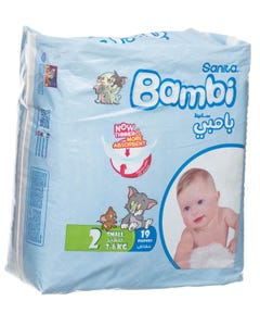 Bambi Size (2) Carry Pack 19 Diapers Small