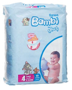 Bambi Size (4) Carry Pack 13 Diapers Large