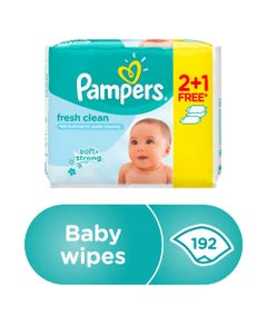 Pampers Baby Wipes Fresh Clean 2+1 Free