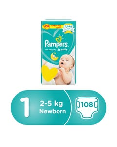 Pampers Size (1) Mega Pack New Born 2-5 kg 108 Diapers