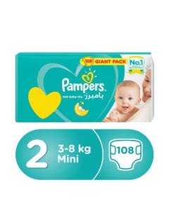 Pampers Size (2) Mega Pack small 3-8 kg 108 Diapers