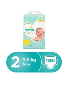 Pampers Premium Care Size (2) New Baby 3-6 Kg/3-8 Kg 136 Diapers