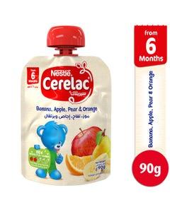 سيريلاك - طعام أطفال موز تفاح اجاص وبرتقال 90 جم - 6 شهور+