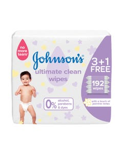 Johnson Baby Wipes Ultimate Clean (3+1) 192 wipes