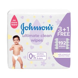 جونسون مناديل أطفال للنظافة الفائقة عرض(3+1) 192 منديل