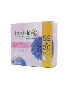 Freshdays Pantyliners Mega Pack Long Scented 52+20 Free