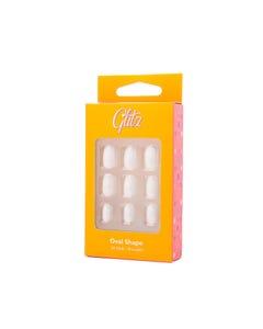 جليتز اظافر صناعية لصق ذاتي لون ابيض مطفي شكل بيضاوي 8